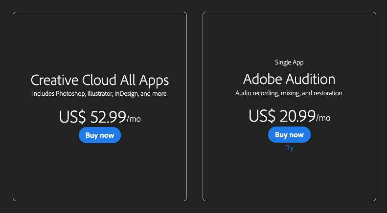 adobe audition pricing