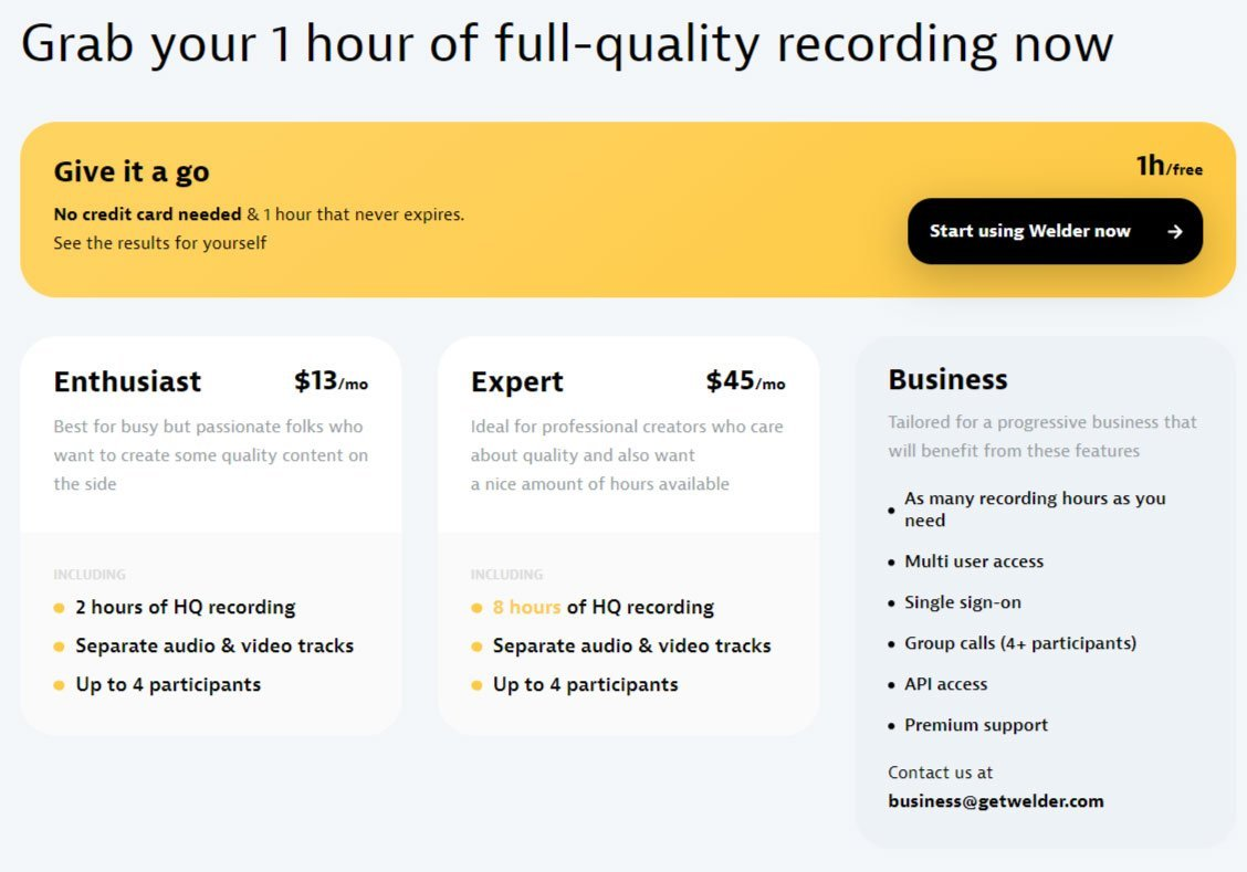 welder remote podcasting video pricing