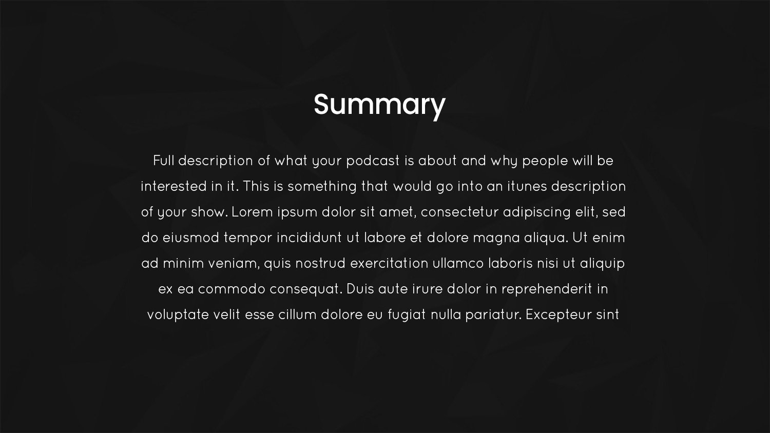 Podcast Pitch deck summary