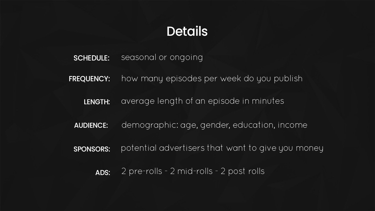 podcasting pitch deck details